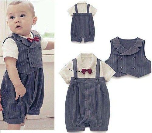 (3-21M) Baby Boy Wedding Special Occasion Christening Tuxedo Suit Outfit + Vest. SO cute!!  Je vois tellement mon petit neveux la dedans!!! :)