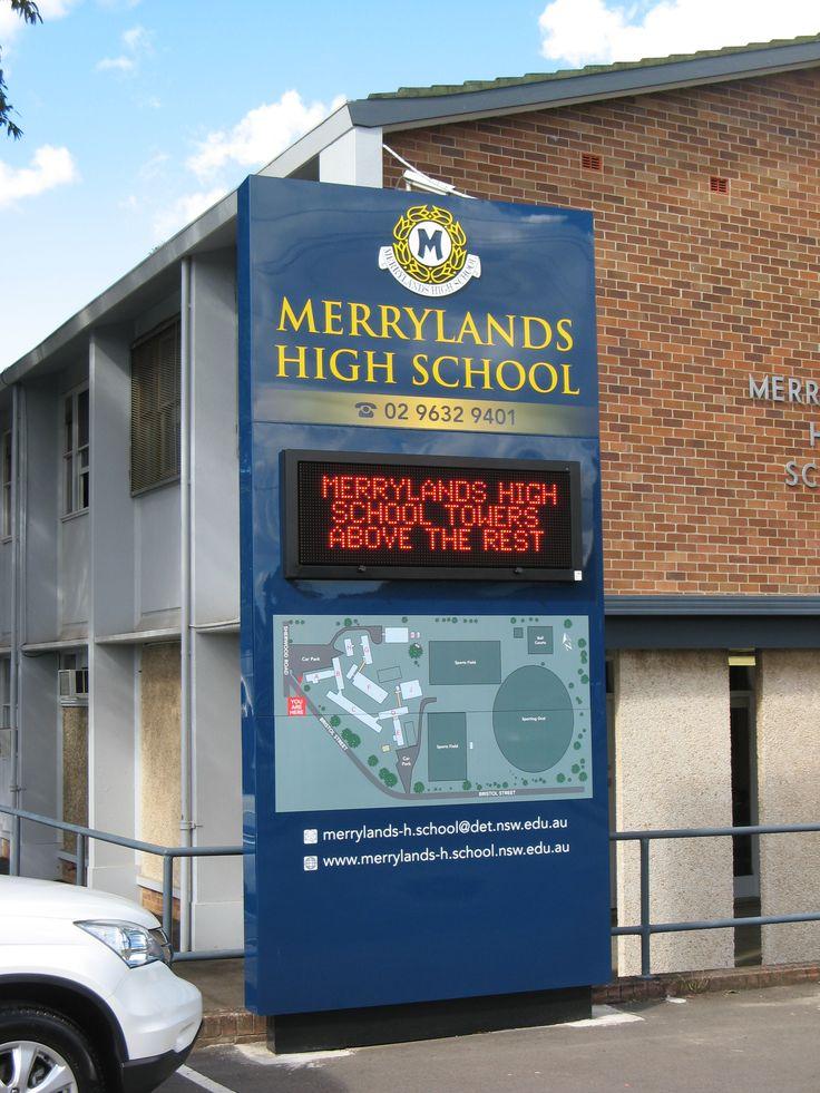 Merrylands High School #CSI #LED #sign #signage #vector #school #brand #identity #message #communicate