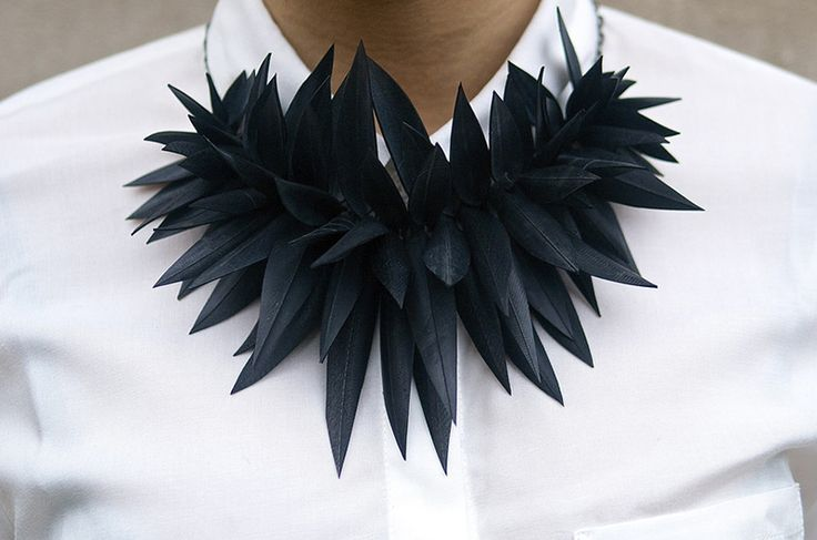 Black leather leaf necklace, sustainable jewellery design // Inner Tube Jewelry