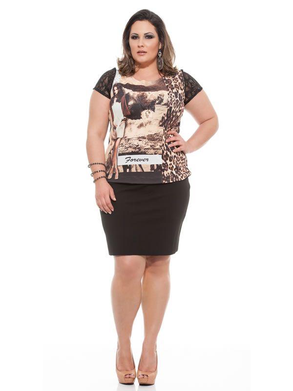 T Shirt Plus Size Feminino. T Shirt Forever Onça para mulheres Plus. Silvania Mares, roupas femininas da Moda Plus Size. Atacado em Divinópolis MG