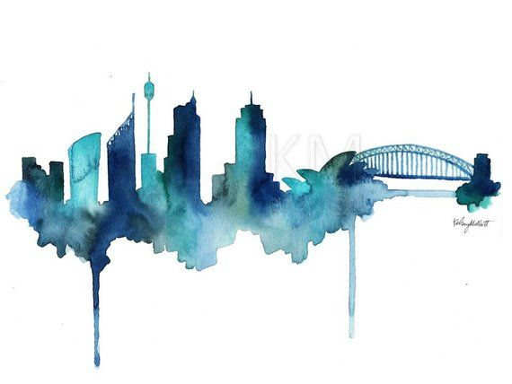 Watercolor Painting Sydney Australia Skyline Print Wall Art