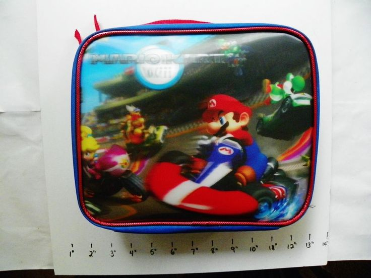 NINTENDO MARIO KART Wii SCHOOL 3D SOFT LUNCH BOX INSULATED BAG BLUE~RED HANDLE  #NintendoWii