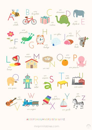 Sweet Alphabet Poster: free printable in many sizes (including very large) in either English, French or Spanish.