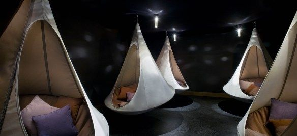 Meditation room with hanging cocoons