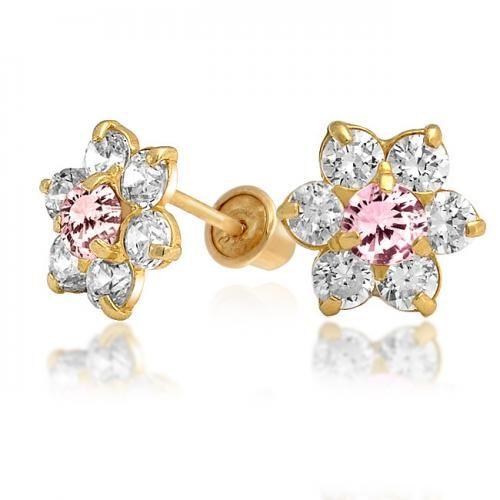 Pink CZ Flower Kids Safety Screw Back Baby Stud Earrings 14k Gold