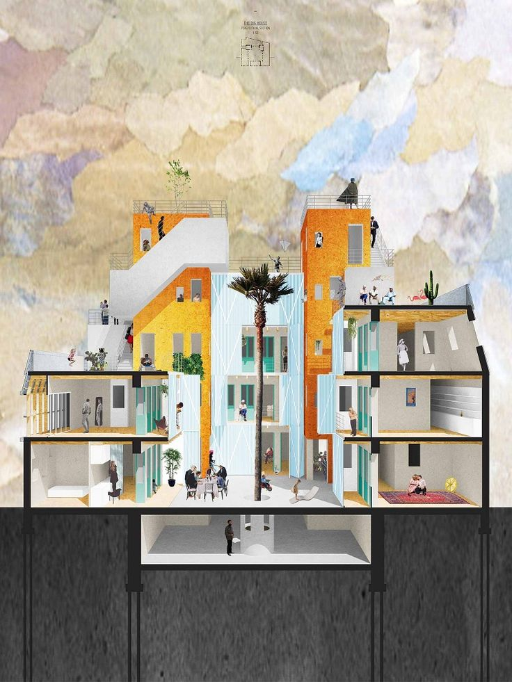 Alessio Fini, David Kohn Architects - Sectional Perspective. I like the collage style and the simplicity of this drawing!