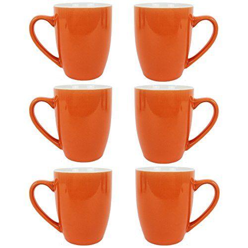 From 21.98 Set Of 6 Stoneware Mugs Coffee Tea Hot Chocolate Mugs Cups 10oz Colour Mugs (orange)