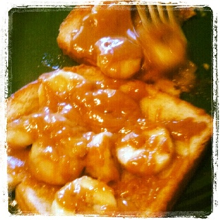 toast topped with caramelized cinnamon bananas and warm peanut butter ...