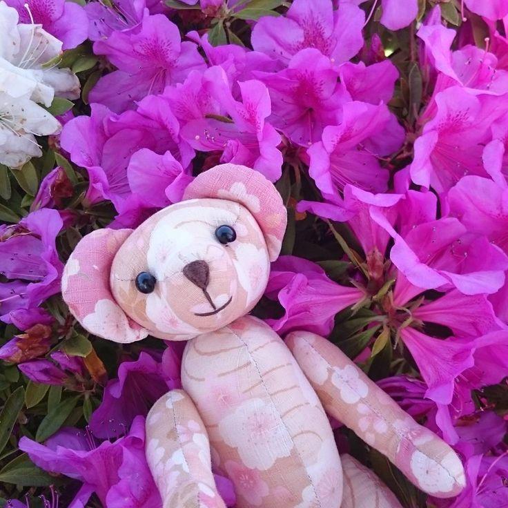 今日は金曜日ー✨つつじのお花と写真とりましたよー💠ピンク色がかわいい。  #friday_flower_plushfes に参加します🌼#和柄 #ハンドメイド #手縫い #flower #flowerslovers #floweroftheday #お花 #お花のある生活 #和裁技能士さんはお花が好き #テディベア #フォローミー #ぬい撮り #ぬいぐるみと撮り隊