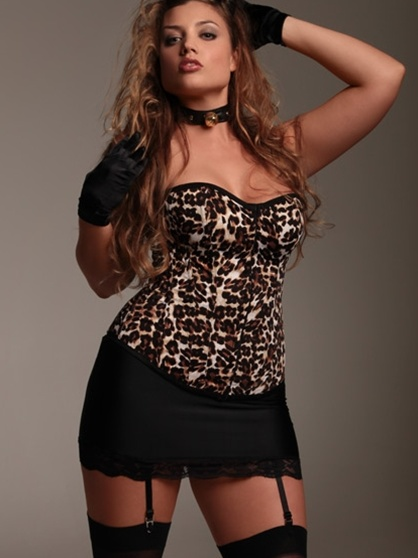 leopard lingerie and stockings! super sexy