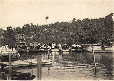 Picnic launches drawn up near Fairyland Pleasure Grounds, Lane Cove River, around 1920s