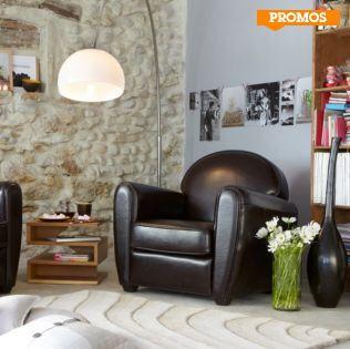 Fauteuil Alinea promo fauteuil, achat Fauteuil club en cuir Habana Chocolat prix promo Alinea 389.00 € TTC au lieu de 489 €.