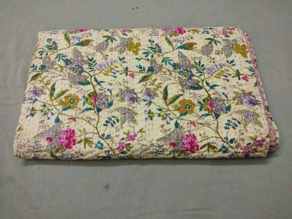 Father/'s Day Gift Indian Handmade New Floral Kantha Quilt Decorative Kantha Blanket Kantha Bedspread Coverlet Multiple Size Kantha Throw