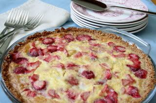 Low Carb Strawberry Rhubarb Custard Pie