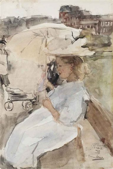 Isaac Israëls - Under the parasol, Oosterpark, Amsterdam; Creation Date: 1897; Medium: chalk and watercolour on paper