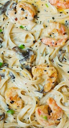 Creamy shrimp and mushroom pasta in a delicious homemade alfredo sauce - an Italian comfort food! JuliasAlbum.com #pasta #dinner