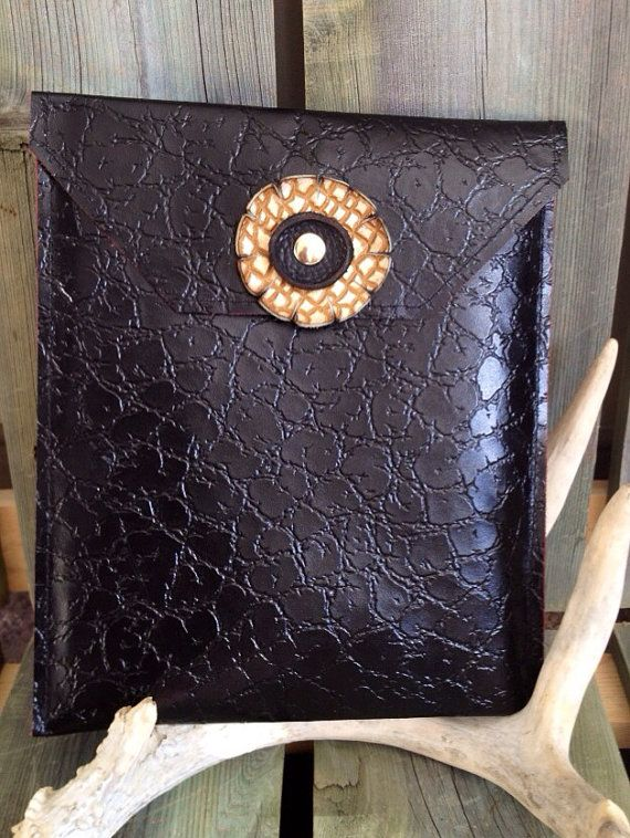 Black Patent Leather iPad Case with Gold Print & Black Handmade Leather Flower by HeartnSoulHandbags, $80.00