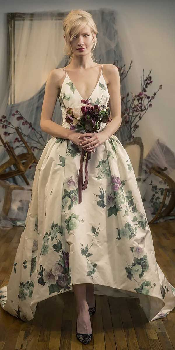 Best 25 floral wedding dresses ideas on pinterest for Non traditional wedding dress colors