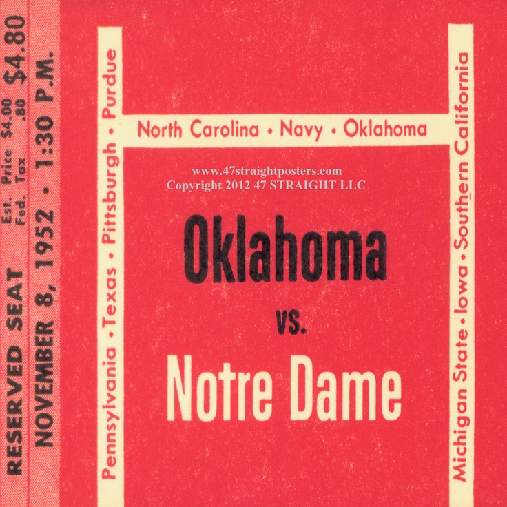 1952 OU vs. Notre Dame football ticket drink coasters. Billy Vessels scored 3 touchdowns, but Notre Dame prevailed in South Bend, 27-21. http://www.shop.47straightposters.com/Oklahoma-vs-Notre-Dame-football-tickets-Coaster-set-OU-ND.htm #47straight