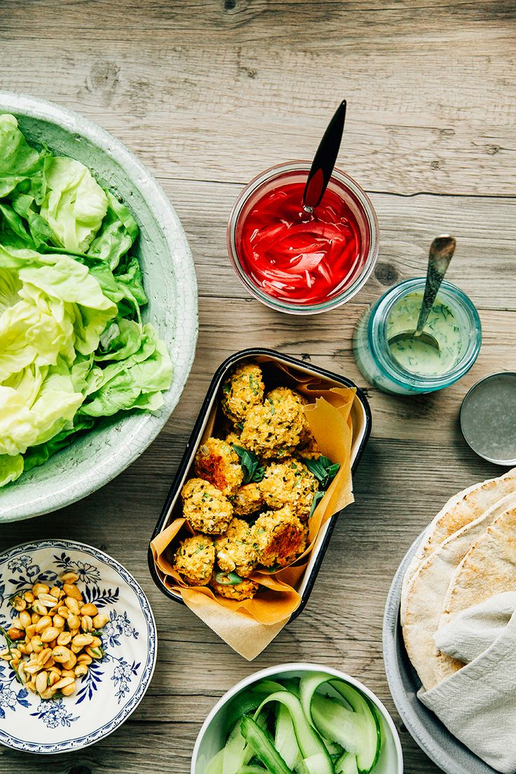 spring onion falafel with millet + some accompaniments