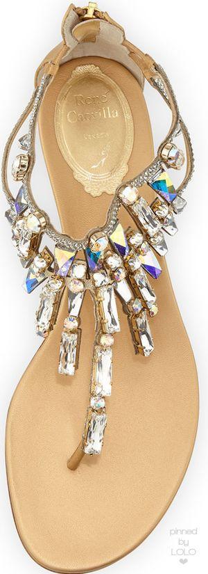 Rene Caovilla Large-Crystal Flat T-Strap Sandal, Gold | LOLO❤︎