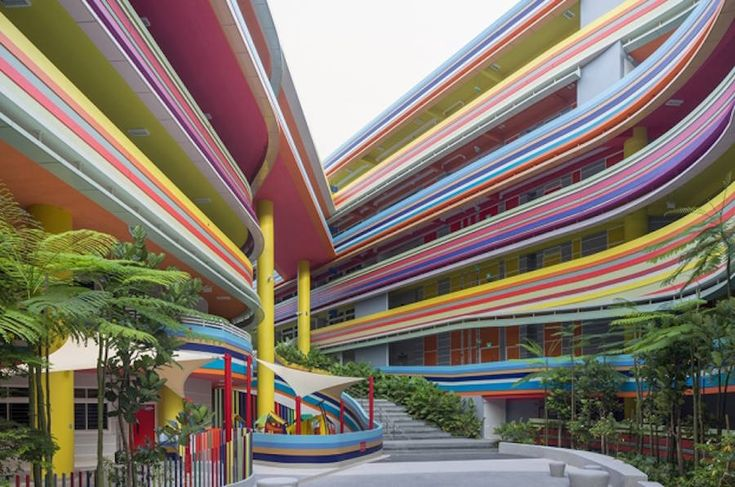Joyful and Vibrant Primary School in Singapore The Nanyang Primary School, in Singapore, decides to create an extension for its pupils : the project of studios 505 and LT&T is born, the first objective of which was to create a common space to all, in the heart of the school.