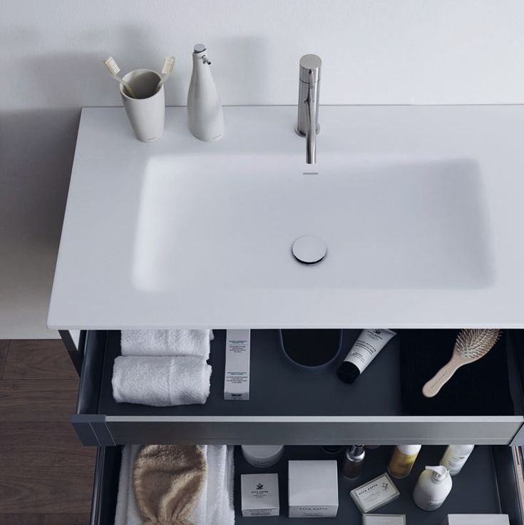 Our 51 furniture collection has two inner components for maximum storage space! Drawer organizers are also available. #furniture #blubath #modernbathroom
