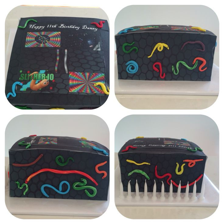 Slitherio cake designed and decorated by Danny