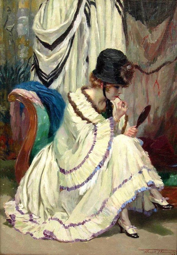 Henri Joseph Thomas (Belgian, 1878-1972) Boudoir rose.
