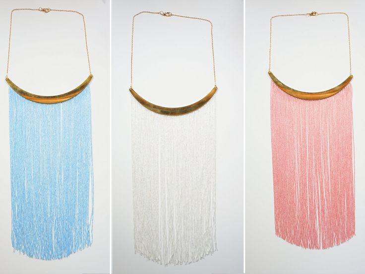 Pink Fringe Necklace Party Necklace Prom Necklace Cocktail by EPUU