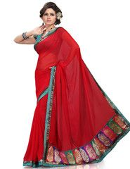 Red Color Wrinkle Chiffon Function & Party Wear Sarees : Nutan Collection  YF-41344