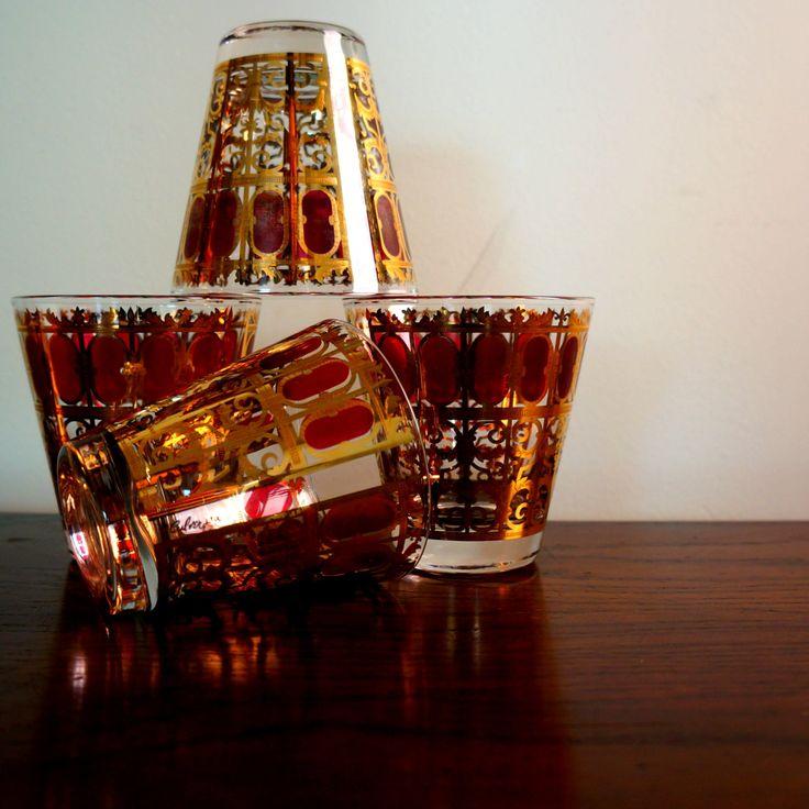 Charming Cranberry Scroll 1960s Vintage Culver Barware Glasses Ruby Red 4 Huge 22k  Slant Bar Glasses Hollywood