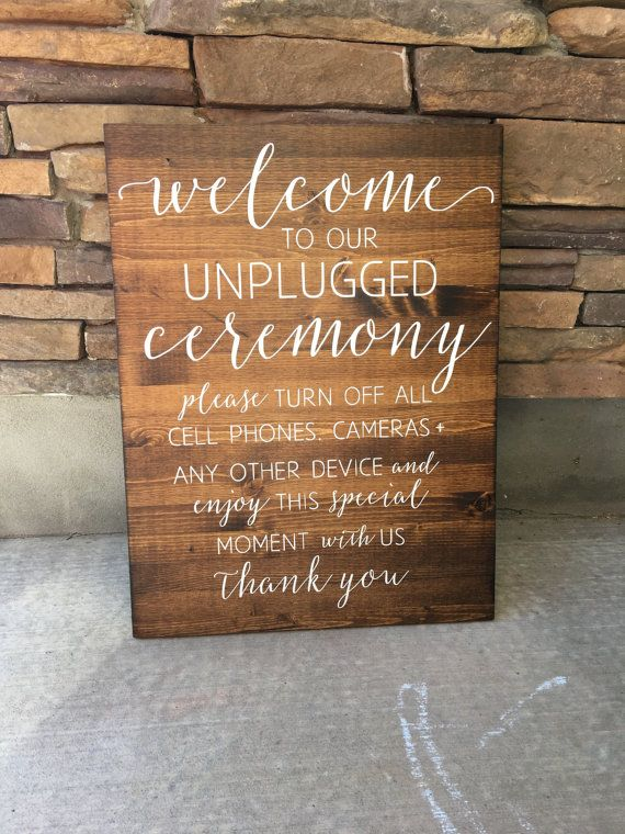 Unplugged Wedding Sign, Unplugged Ceremony Sign, Rustic Wood Wedding Sign