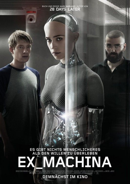 Absolutely love this movie! - Ex Machina - A young programmer is selected to participate in a breakthrough experiment in artificial intelligence by evaluating the human qualities of a breathtaking female A.I. Director: Alex Garland Writer: Alex Garland Stars: Alicia Vikander, Domhnall Gleeson, Oscar Isaac