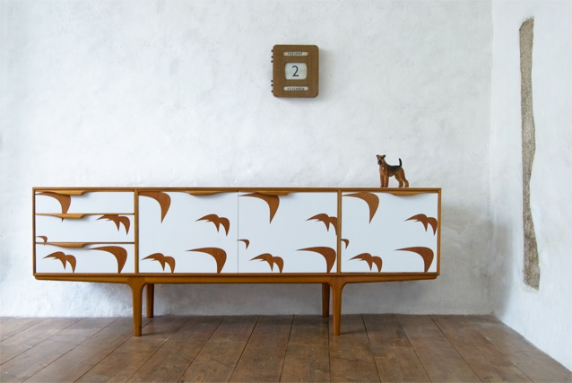 repainted upcycled retro sideboard. love it!
