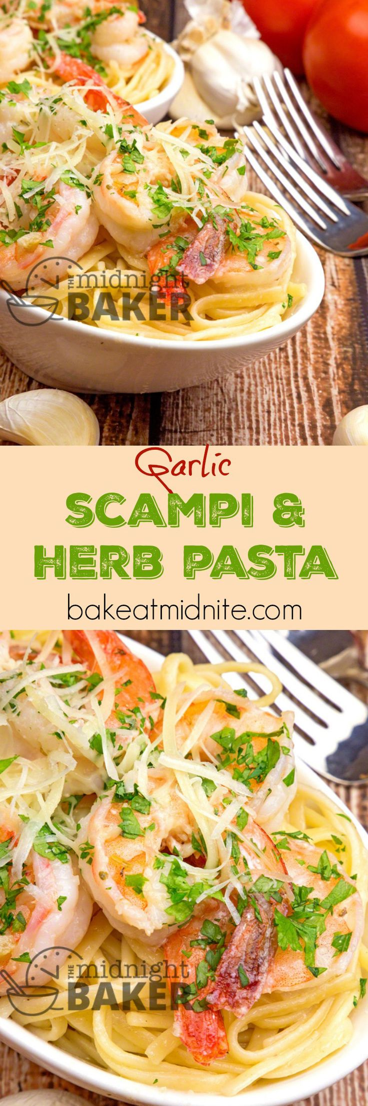 Delicious garlicky shrimp scampi served with a bed of pasta in an olive oil and…