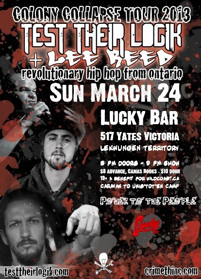 Sunday, March 24 - the legendary LEE REED of Warsawpack with TEST THEIR LOGIK. 9 pm, advance tickets $8/10 at the door. #LuckyBar #Victoria