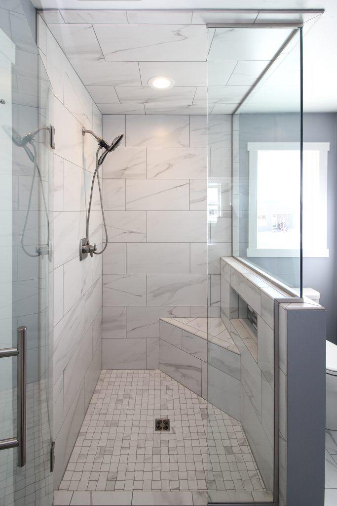 Matte Gray And White Tiled Shower With Custom Glass Shower Door Gray Tile Bathroom Shower Grey Bathroom Tiles Gray Shower Tile