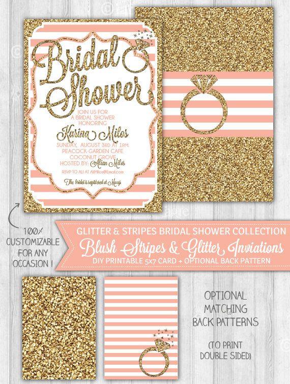 Blush Pink & Gold Glitter Bridal Shower by LaBelleStudio on Etsy, $10.00