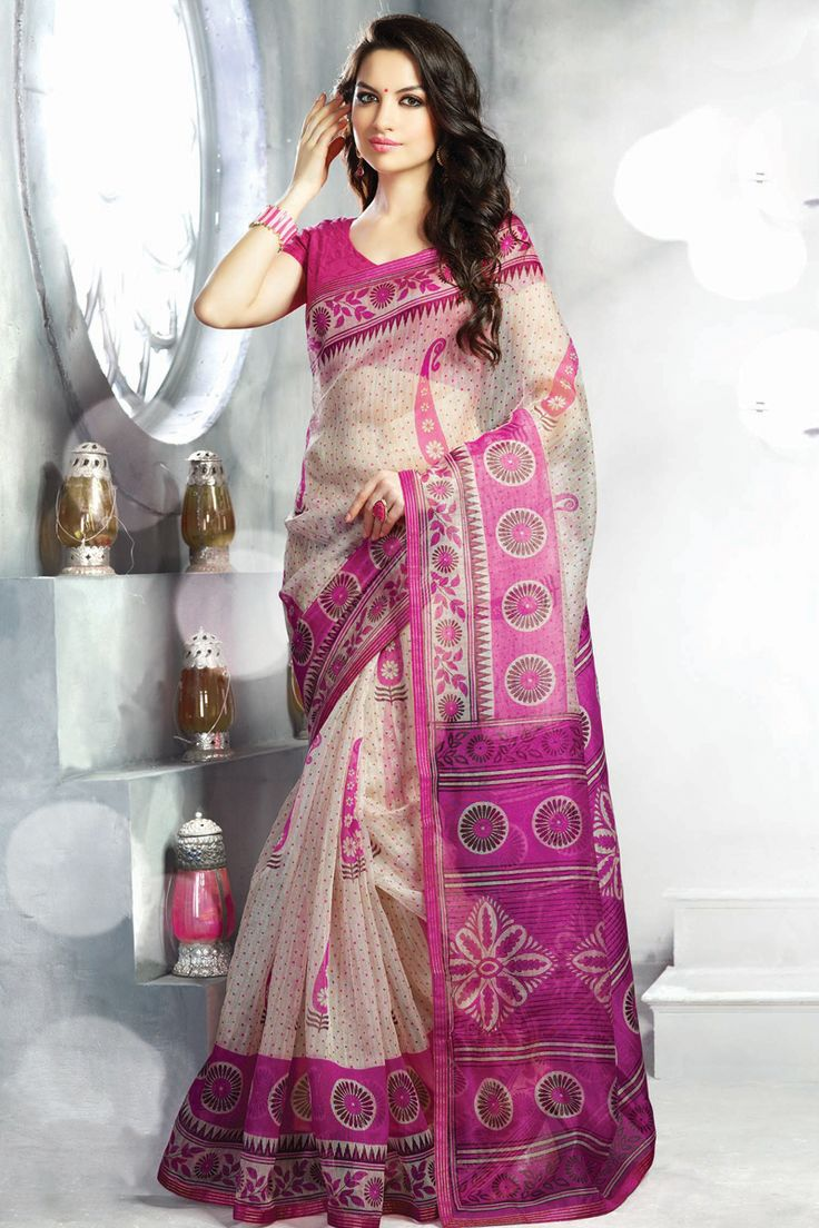Pink printed party wear saree with matching blouse