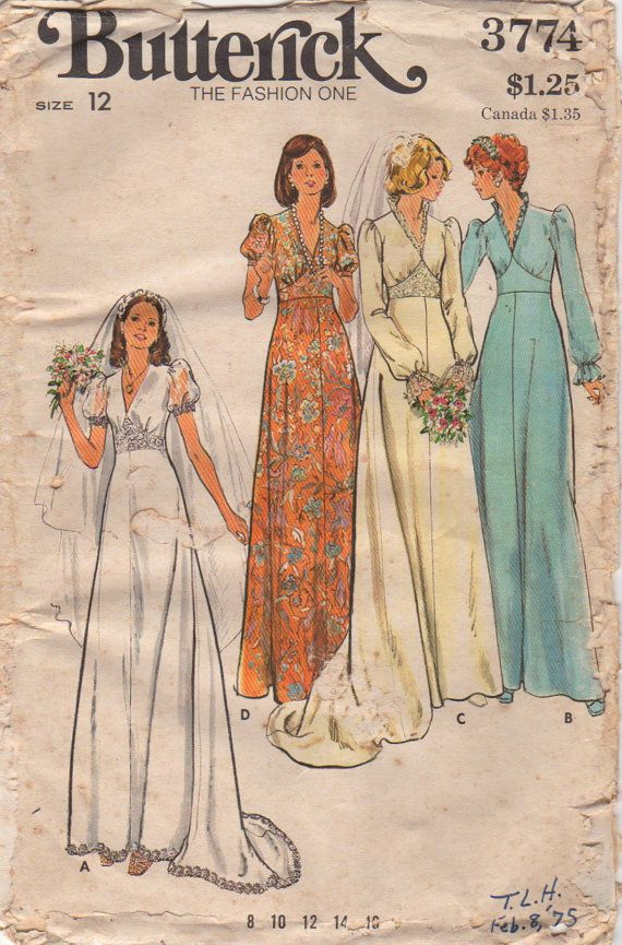Butterick 3774 1970s Misses Bridal Gowns Pattern by mbchills womens wedding dress sewing pattern