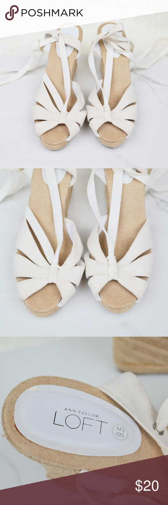 """Ann Taylor LOFT White Espadrille Wedges Size 9.5 Brand: Ann Taylor LOFT  Size: 9.5  Condition: Pre-loved  Materials: Fabric  Details: White, Espadrilles  Heel height: 4""""  Same or Next day shipping Check out my other items! Order more to save on shipping! S106-1 Ann Taylor Shoes Wedges"""