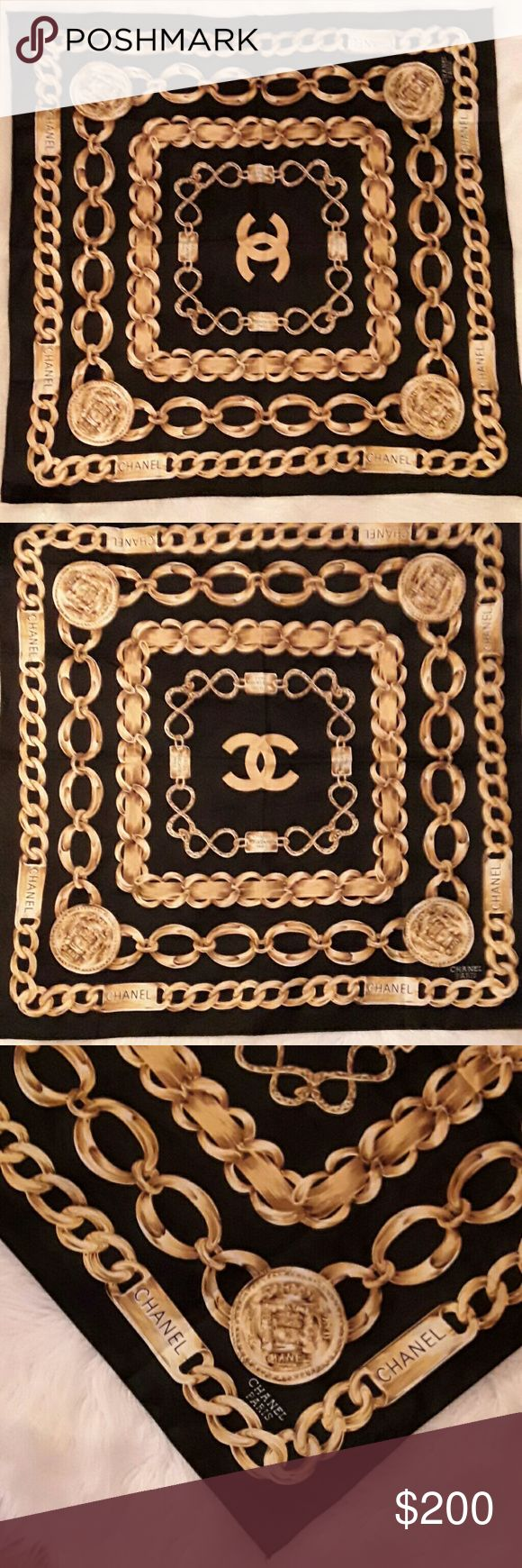 CHANEL SCARF EUC Beautiful chanel back/gold/yellow/white scarf stunning 33 x 33 silk trade value higher Other
