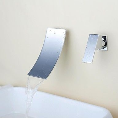 Contemporary  Waterfall Chrome Brass Two Holes Single Handle Bathroom Sink Faucet  – AUD $ 141.66
