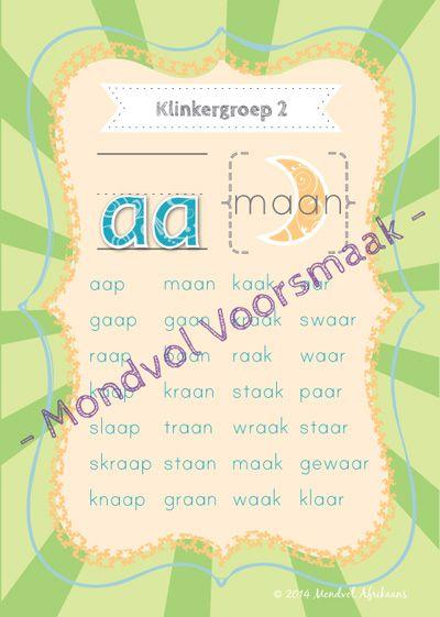 Digitale plakkate oor Klinkergroep 2, beskikbaar op http://teachingresources.co.za/vendors/mondvol-afrikaans/