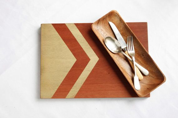 Tribal Chevron Hand Painted Wooden Serving Board, Gold Feather, Hand Made Wooden Board, Engagement Gift Wedding Gift, Gift for House Warming on Etsy, $125.50 AUD