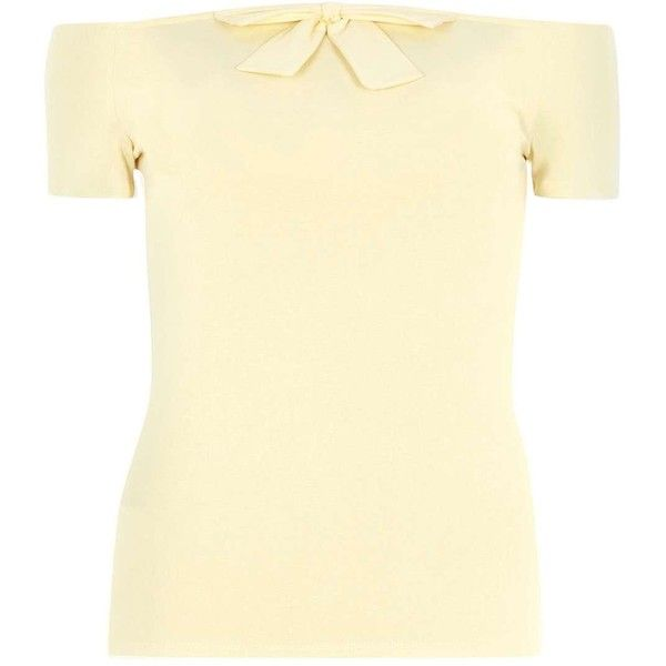 Dorothy Perkins Lemon Bow Bardot Top ($21) ❤ liked on Polyvore featuring tops, yellow, yellow top, short sleeve tops, bow top, dorothy perkins and beige top