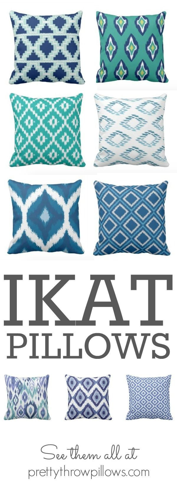 "Ikat throw pillows: Ikat is a type of fabric that utilizes specific methods of weaving (the word means ""to tie"" or ""to bind"" in Indonesian) and a dipping dying method similar to that of tie-dying. Each ikat throw pillow is truly a piece of art."