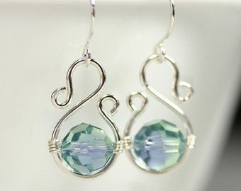 Blue Green Swarovski Crystal Earrings Wire Wrapped Jewelry Handmade Sterling Silver Jewelry Handmade Swarovski Crystal Jewelry Lavender