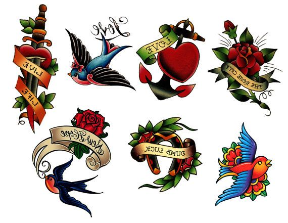 Old School Tattoos!  7 different designs in full color.  They look so real, you'll scare your mama!